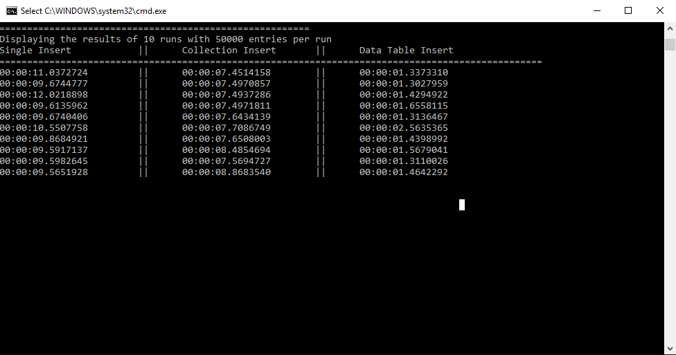 Dapper Benchmarks for Inserting Data and Data Table Inserts